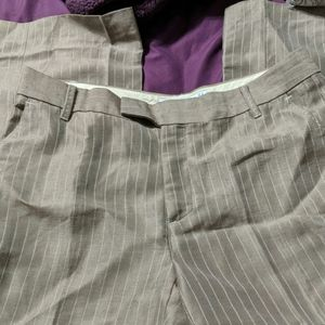 Zara Woman Tan and Cream Pinstripe Pants Size 10